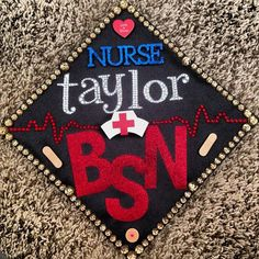 nurse graduation cap decoration idea - with a bow of course Nurse Grad Parties, Nurse Party, Nursing School Graduation, Nursing Career, Graduation Cap Designs, Graduation Cap Decoration, Graduation Ideas, Graduation Hats, Graduation 2015