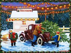 Winter: Christmas Wreath Tree Holiday Artwork Art Painting Illustration December Claiming Farm Occasion Scenery Children Winter Wallpaper Apple for HD High Definition Wide Widescreen WUXGA WXGA WGA Standard Fullscreen Christmas Truck, Christmas Tree Farm, Old Christmas, Christmas Scenes, Vintage Christmas Cards, Retro Christmas, Vintage Holiday, Country Christmas, Christmas Pictures