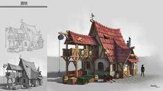 小 酒 馆 by rango huang on artstation. Fantasy City, 3d Fantasy, Fantasy House, Fantasy Places, Medieval Fantasy, Environment Concept Art, Environment Design, Building Concept, Building Design
