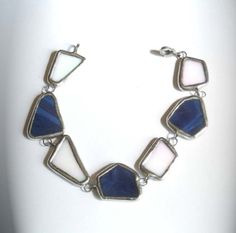 Blue And White Stained Glass Bracelet