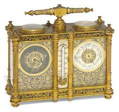 ❤ - French Brass & Champleve enamel mounted compendium timepiece carriage clock with barometer & compass, late 19th c.