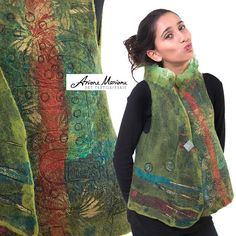 This art vest is a gorgeous piece of wearable art for an outstanding women. Slow designed from finest merino wool fibers and high quality silk, its a stunning piece unique you will love wearing. Each side is worked out in a one of a kind design. Light green (and partially watercolor