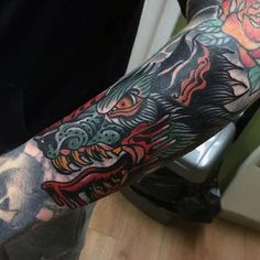 Mens Forearms Angry Animal Neo Traditional Tattoo