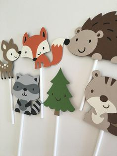 Woodland Animals Cupcake Toppers Woodland Party by EandABabyShop Party Animals, Animal Party, Woodland Critters, Woodland Baby, Woodland Animals, Woodland Theme, Happy Birthday Banners, Baby Birthday, Dinosaur Cupcake Toppers