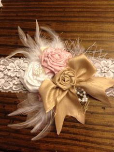 Baby rosette headband....pink, white and gold raw silk headband....toddler & newborn headband - maybe something like this for all the little girls and a bow tie for the boys !