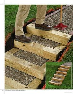 Stonescaping Made Simple: Bring the Beauty of Stone Into Your Yard (page 90 gravel and timber steps). diy garden stepping stones Stonescaping Made Simple: Bring the Beauty of Stone Into Your Yard (page 90 grav. Landscape Stairs, Landscape Design, Garden Design, Landscape Timbers, Landscape Bricks, Path Design, Design Ideas, Build Your Own Shed, Outdoor Steps