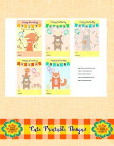 Printable Gift Cards, Cute Cards, Forest Animals Cards , CRF-TEDVA-17 de CutePrintableDesigns en Etsy