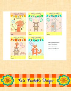 Printable Gift Cards, Cute Cards, Forest Animals Cards , CRF-TEDVA-17 de CutePrintableDesigns en Etsy