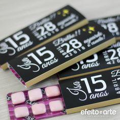 Cartela de chiclete - Save the Date 15 anos - Orçamentos e pedidos pelo e-mail contato@efeitoearte.com.br