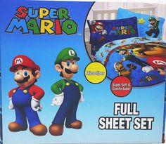 Nintendo Super Mario Full Sheet Set 4pc Luigi New #Nintendo