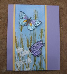"""Healing Wishes    My aunt just had her hip replaced. I am hoping that this card makes her smile and heal quickly. The grass was stamped with """"wild honey"""" distress ink and then I used """"faded denim"""" for the sky. TFL!    S5316 Silhouette Grass  CL428 Earth Flowers  CL383 Antique Engravings"""