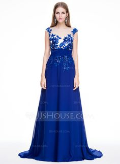 A-Line/Princess Scoop Neck Court Train Chiffon Tulle Prom Dress With Ruffle Appliques Lace Sequins (018058778)