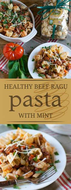 Healthy Beef Ragu with Mint | A lighter version of classic beef ragu, this dish is so heartily delicious you won't even realize it's a healthier twist! Perfect for the whole family! | http://WorldofPastabilities.com