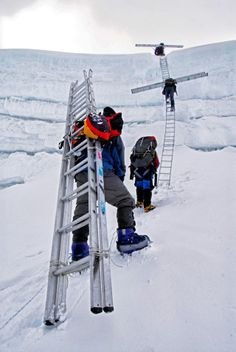 Everest by Jimmy Chin. Hiking with ladders to cross crevasses. Ice Climbing, Mountain Climbing, Monte Everest, Climbing Everest, Everest Base Camp Trek, Nepal Trekking, Utah Hikes, Colorado Hiking, Top Of The World