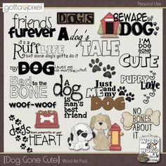 Dog Gone Cute Digital Scrapbooking Word Art April 2015 at Dog Scrapbook Layouts, Scrapbook Quotes, Scrapbook Titles, Baby Scrapbook, Scrapbook Supplies, Scrapbook Cards, Scrapbook Designs, Cute Dog Quotes, Piglet