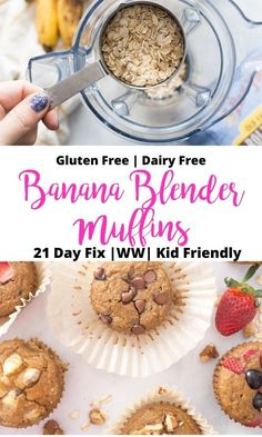 So quick and easy, these Healthy Banana Oatmeal Blender Muffins are a perfect for make ahead breakfast for you or the kids. Naturally gluten-free, dairy-free, and refined sugar free, too - perfect for the 21 Day Fix or Weight Watchers! Make Ahead Breakfast Gluten Free, 21 Day Fix Breakfast, Healthy Breakfast For Kids, Banana Breakfast Muffins, Banana Oatmeal Muffins, Healthy Banana Muffins, Gluten Free Oatmeal, Gluten Free Banana, 21 Day Fix Muffin Recipe