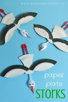 Paper plate stork craft for kids