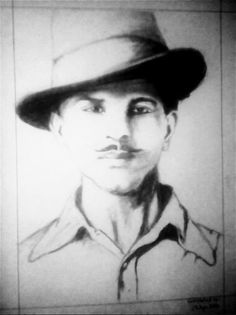 Charcoal sketch of Sardar Bhagat Singh by me
