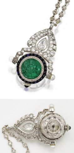 Emerald, sapphire, diamond, and pearl pendant-watch, circa 1930. Pear-shaped, old European-cut, rose-cut and single-cut diamonds, additionally set with a carved emerald, cabochon sapphires, and pearl terminals, mounted in platinum, manual movement, movement signed Uti Watch Co., case numbered.