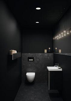Guest bathroom ideas Tips for small bathrooms: guest bathroom and guest toilet modern and st . - Guest bathroom ideas Tips for small bathrooms: Make the guest bathroom and guest toilet modern and - Contemporary Bathroom Designs, Bathroom Design Luxury, Black Toilet, Guest Bathrooms, Small Bathrooms, White Bathrooms, Luxury Bathrooms, Dream Bathrooms, Home Design