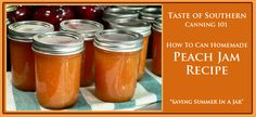 "No Pectin - Peach Jam recipe. Our step-by-step photo instructions will show you just how easy it is to ""save summer in a jar"" with local peaches fresh from the orchard. Spread this jam on a hot biscuit or some buttered toast and just step back into summer with every bite. Canning jam is easier than you think and this is a simple and easy recipe perfect for anyone to try.    Ingredients  •4 pounds of fresh Peaches   •3 cups of Sugar   •2 Tablespoons of Lemon Juice   •1/2 cup of Water"