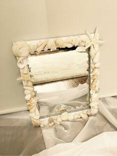 100均の鏡 簡単DIY  貝殻。スターフィッシュ。パール。