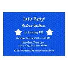 13th Birthday Party Modern Bright Blue Stars 2B2 InvitationsTo see more Jaclinart TEEN BIRTHDAY Items:  Teen Birthday INVITATIONS: http://www.zazzle.com/jaclinart/gifts?cg=196319186511761985 Teen Birthday TEES: http://www.zazzle.com/jaclinart/gifts?ps=120&cg=196440535520435911 Teen Birthday PACKAGES: http://www.zazzle.com/jaclinart/gifts?cg=196981607183608899
