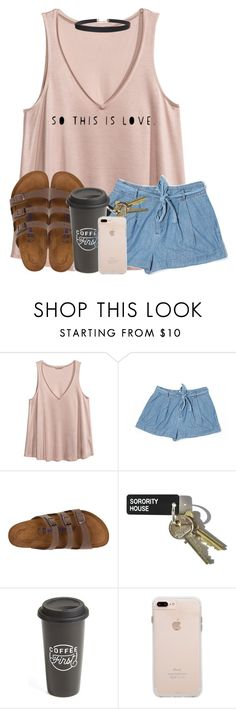 """""""i want chicken wings"""" by madiweeksss ❤ liked on Polyvore featuring H&M, Forever 21, Birkenstock, The Created Co. and Humble Chic"""