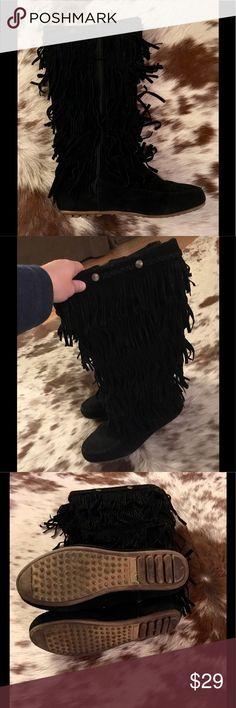 Black Fringe Moccasin Boots Black Fringe Moccasin Boots Size 7. Zip Up! Pre-Loved with a lot of Life Left 💋 Shoes