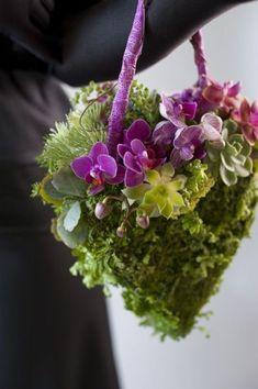 Heart shaped flower purse with phaelonopsis  - Françoise Weeks