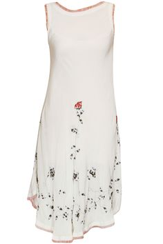 White scattered leaf embroidered bias dress available only at Pernia's Pop Up Shop.