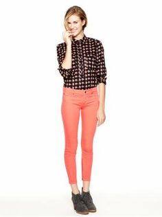 Printed button down plus bright skinny jeans equals cute for colder weather!