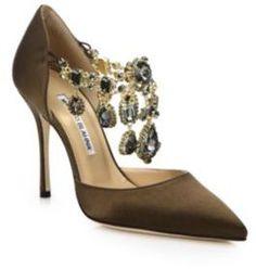 Manolo Blahnik Zullin Satin Jeweled D'Orsay Pumps