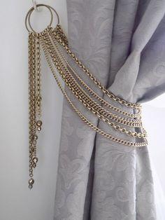 Swarovski crystals tieback, decorative bronze chains tieback with pendants, luxury curtain holder Decorative bronze chains tieback with glass pendants, drapery holder