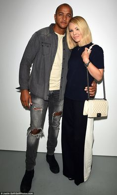 Katie Piper turns heads in a navy ensemble as husband Richard Sutton looks dapper in double denim for Jasper Conran SS17 at LFW | Daily Mail Online