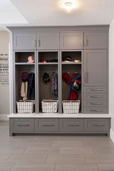 Mudroom Cabinets, mudroom organization, mudroom storage, cubby cabinets, grey cabinetry, modern cabinetry