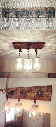 Kitchen Lighting Ideas DIY Mason Jar Light Fixtures - the basis for my skokie scone idea (no chains though) - Do you want to transform your bathroom into a rustic country paradise? This list of gorgeous farmhouse bathroom design ideas can help. Diy Mason Jar Lights, Mason Jar Light Fixture, Mason Jar Lighting, Mason Jar Diy, Mason Jar Kitchen Decor, Design Rustique, Sweet Home, Diy Casa, Rustic Bathrooms