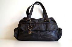 Vintage Leather SHOULDER BAG Vintage black real by vintagdesign
