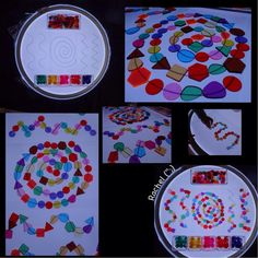 """Light panel play with patterns in acetate sheets and acrylic mosaic shapes from Rachel ("""",)"""