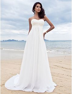 Wedding Dress Sheath Column Court Train Chiffon Sweetheart Strapless With Beading Appliques