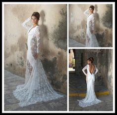 Find More Wedding Dresses Information about Romantic 2015 Lace Mermaid Wedding Dress With Long Sleeves V Neck open back Bride Gown Formal Vestido de Noiva NT 549,High Quality Wedding Dresses from Suzhou Amy wedding dress co., LTD on Aliexpress.com