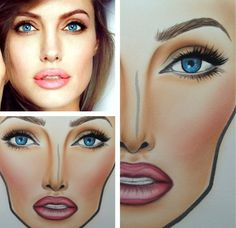 MAC Face chart | Angelina Jolie inspired