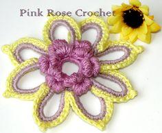 PINK ROSE CROCHET /: Flor com Miolo em Ponto Rococó