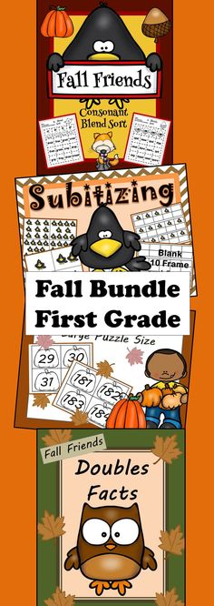 Perfect for fall! Consonant Blens, Subitizing, Number chart or line, Doubles Facts! All in a bundle! Big Savings!!