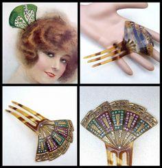 Hand painted celluloid Art Deco hair comb fan by ElrondsEmporium