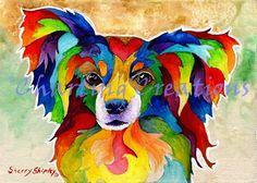 Papillon DOG print by Artist Sherry Shipley Papillon Dog, Framed Prints, Canvas Prints, Dog Prints, Dog Paintings, Dog Art, Illustration Art, Art Illustrations, Dog Lovers