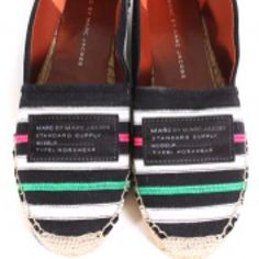 Marc by Marc Jacobs black canvas espadrilles.