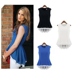 Fashion Summer Women Ladies Chiffon Blouse Peplum Sleeveless Tops Office Casual Shirt