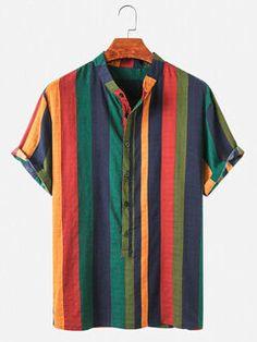 Ethnic Fashion, Mens Fashion, Cotton Harem Pants, Stylish Mens Outfits, Henley Shirts, Stripe Print, Men Casual, Sleeves, Mens Tops