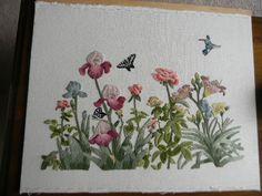 Completed Elsa Williams Wool Crewel HUMMINGBIRD'S GARDEN - JCA New 24 x 20 (50)